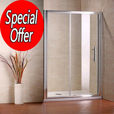 1200x1850mm Sliding Walk In Shower Enclosure Glass Screen Cubicle Door NS