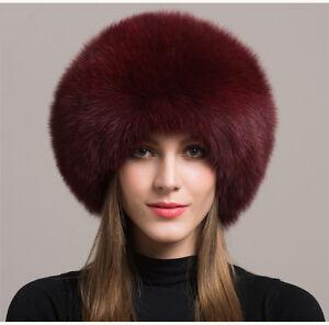 ff397b8e527 Women Real Burgundy Fox Fur Hat Russian Winter Warm Ear Cap Ushanka ...