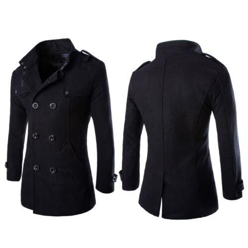 Wool Coat Men/'s Double Breasted Peacoat Long Men Jacket Winter Formal Dress Top