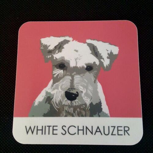 WHITE SCHNAUZER COASTER BY BETTY BOYNS FAB GIFT FOR SCHNAUZER FANS FAST DESPATCH