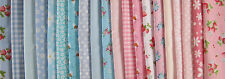 FABRIC LAYERCAKE SQUARES GINGHAM ROSES CRAFTS PATCHWORK SHABBY CHIC 25CM X 25CM