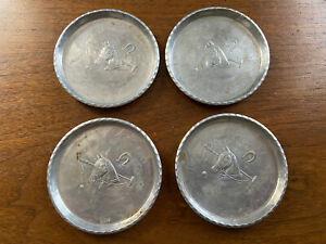 Vintage-Set-of-4-RARE-Hand-Forged-Everlast-Aluminum-Metal-Coasters-Raised-Horses