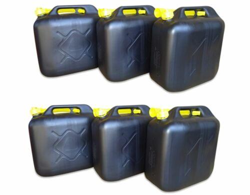 6x 20 Liter Kraftstoffkanister Benzinkanister schwarz 20L Kanister