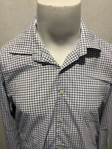 PETER MILLAR Summer Comfort Mens Checkered Button Down Blue White Shirt Large L