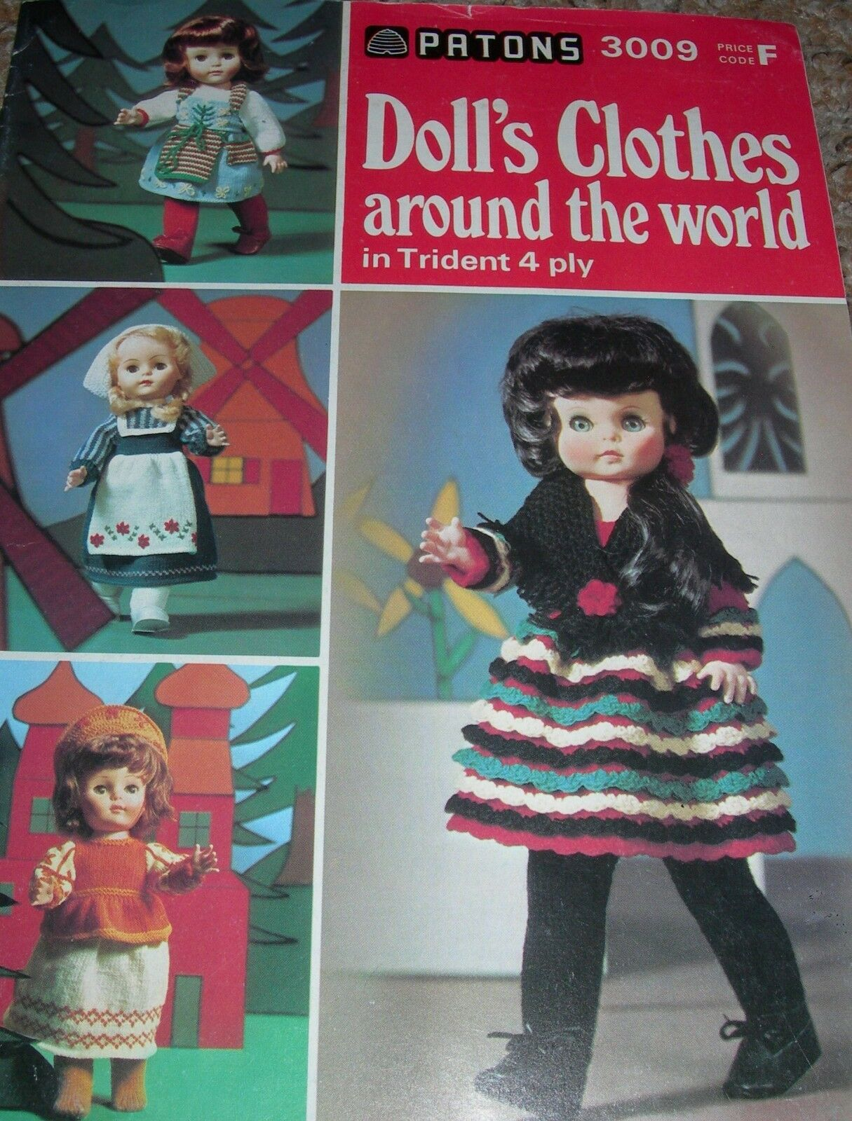 Dolls Clothes around the world 3009 Vintage Patons Knitting Pattern 4ply
