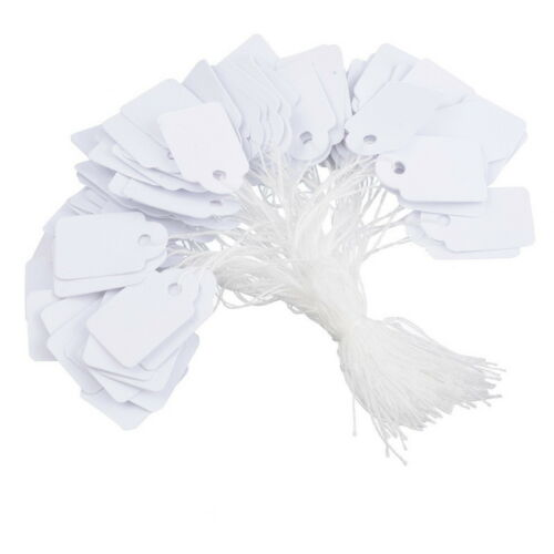 White Strung Tickets 37 x 24 mm Price Tags String Swing Labels 37mm x 24mm C-24