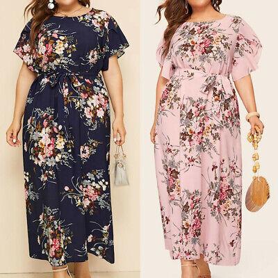 Fashion Women/'s Plus Size O-neck Mini Dress Casual Butterfly Print Strap Dresses