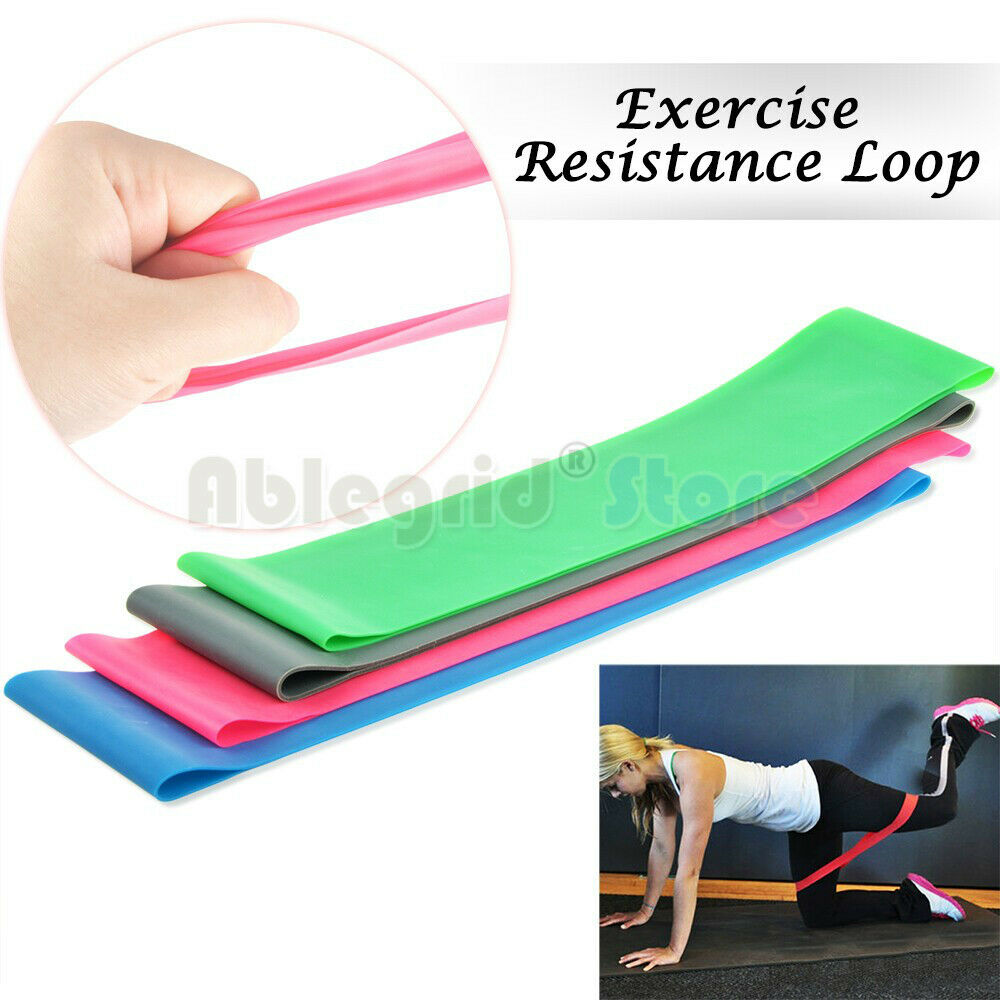 Exercise Bands Loops: 4xPink Resistance Loop Band Exercise Yoga Bands Rubber
