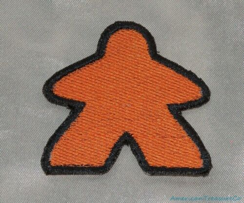 Embroidered Classic Meeple Board Gamer Bright Orange 3.5 Patch Sew On Iron USA