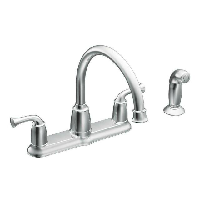 Moen Banbury 2 Handle Mid Arc Standard Kitchen Faucet W Side Sprayer In Chrome