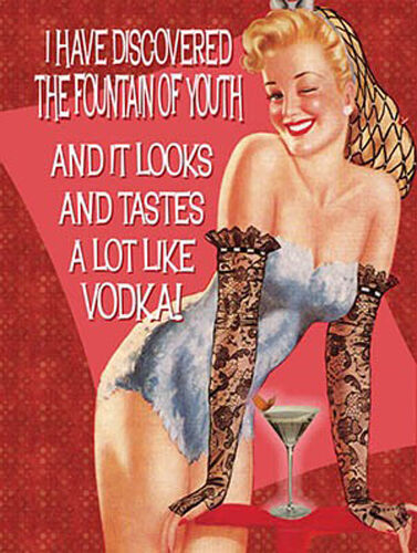 Small Metal Tin Sign Funny Vintage Pin up Girl Drink Fountain of Youth Vodka