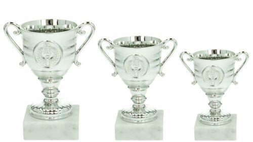 Pokalserie 3 Pokale silber mit 25mm Sportemblem und Schild Teilnehmer Kinder