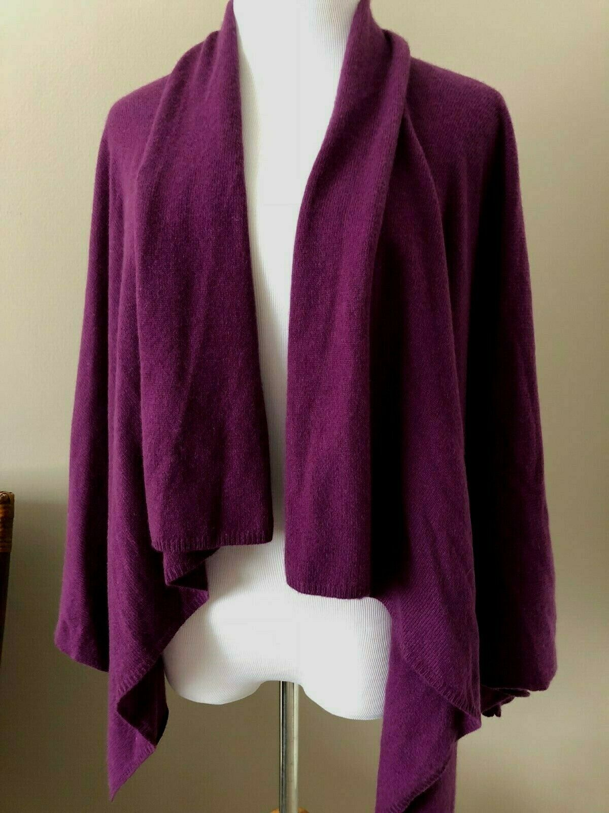 Immaculate Lord & Taylor Dark Grape 100% Cashmere Open-Front Cardigan Sweater PS