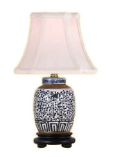 Chinese Blue and White Porcelain Ginger Jar Twisted Lotus Table Lamp 15""