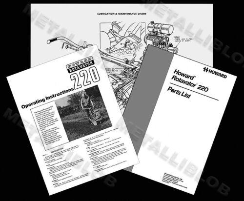 Howard 220 motocultores manual de instrucciones y piezas lista diagrama de A3