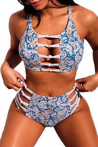 Bikini-Set Bademode Bikini Strand Urlaub Größe S = 36 Blau NEU #10