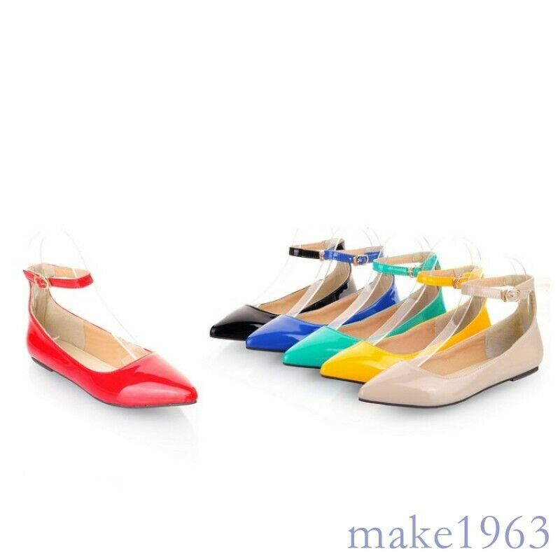 Candy Color Womens Fashion Pointed Toe Ankle Strappy Faux Leather Slip On Shoes
