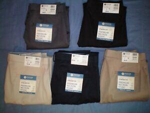 NWT-NEW-mens-HAGGAR-flat-front-straight-fit-premium-no-iron-stretch-flex-pants