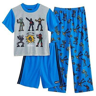 Fortnite Pajamas Size 14,16 XL Boys 3 Piece Set Shirt,Shorts,Pant Skeleton Dance