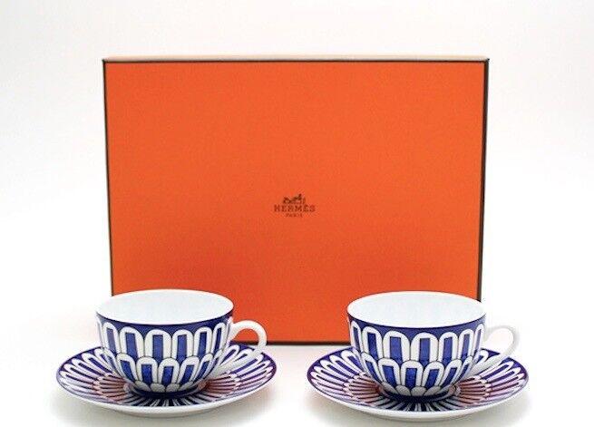 HERMES Porcelain Tea Cup Saucer 2 set Tableware Blaus D'Ailleurs Dish Ornament