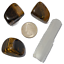 thumbnail 3 - Tigers Eye Polished Tumbled Stones 3 Piece Set and Bonus Selenite Crystal # 1