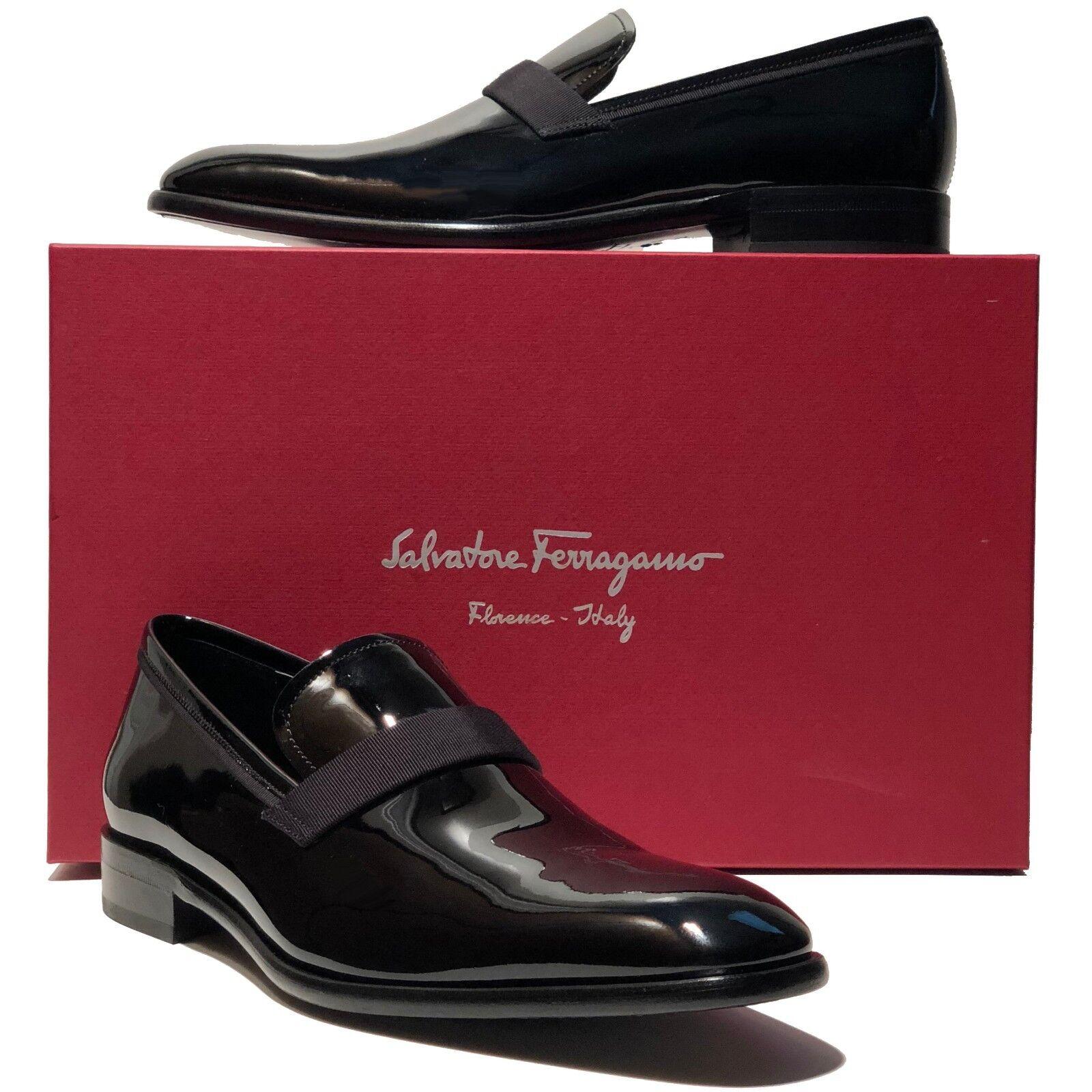 Ferragamo ANTOANE Patent Leather Formal Men's Dress Loafers Tuxedo Wedding scarpe