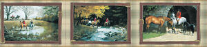 York-English-Hunt-Scene-Wallpaper-Border-3-Scenes-in-Strap-Frames-HJ6606BD