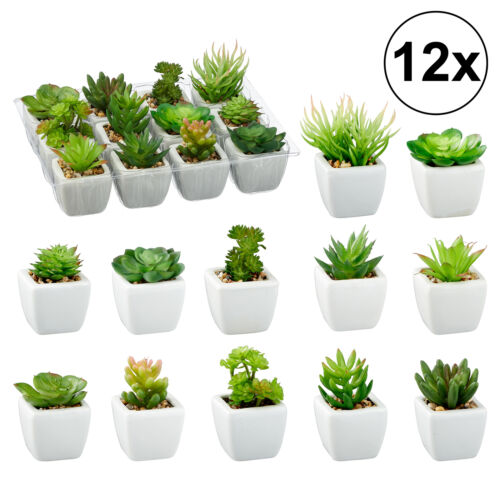 12x Sukulenten im Topf künstliche Pflanze Kunstpflanze Kunstblume Blumen Display