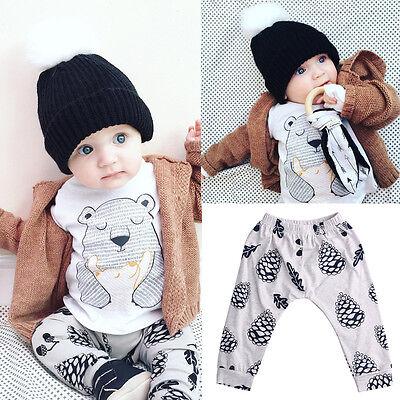 Cute Newborn Baby Girl Boy Clothes Bear Tops T-shirt+Pants 2PCS Outfits Set 0-3Y