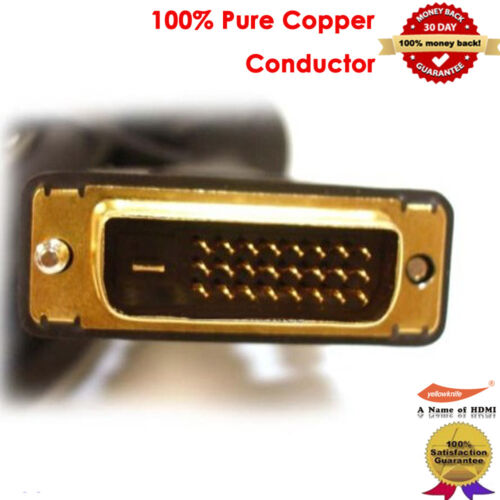 2 PCS 6FT GOLD DVI-D Male to Male 25 pin 24+1 DVI Digital Video PC Monitor Cable