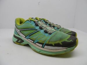 0d02d9660700 Details about Salomon Women s Wings Pro 2 Trail Running Shoes Green Blue  Yellow Size 7M