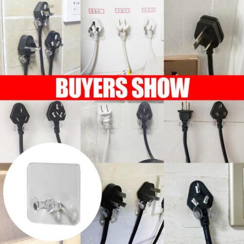 2//5x Power Plug Hook Socket Holder Storage Hanger Wire Bracket Powerful Adhesive