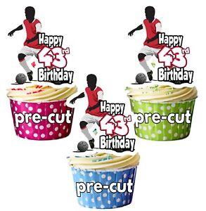 Detalles De 43rd Cumpleaños Hombre Fútbol Temático Decoración Comestible Para Cupcakes