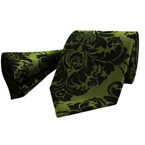 Mens Ties Black Olive Green Shade Woven Floral Paisley Silk Necktie Hanky 234