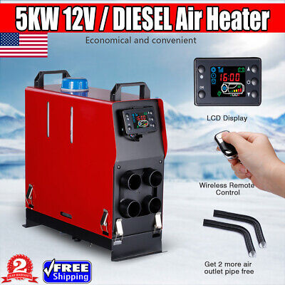 Diesel Air Heater Forced Air Parking Heater Kit 5KW 12V//24V with LCD Thermostat Remote Controller Exhaust Pipe Air Duct Warming Equipment for RV Trucks Boat Car Trailer and More