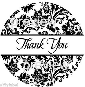 BLACK DAMASK PRINT #104  THANK YOU STICKER LABELS