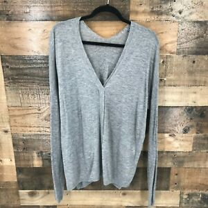 Vince Women's Gray Semi Sheer V-neck Long Sleeve Pullover Top Size Large
