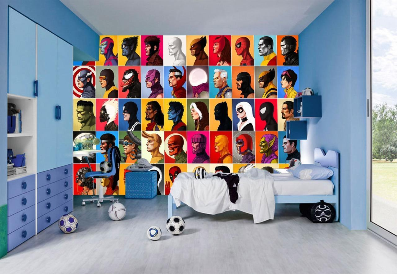 Marvel Super Heroes Photo Wallpaper Woven Self-Adhesive Wall Mural Art M124