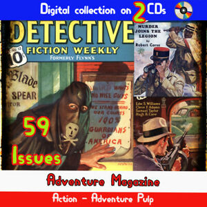 3Detective Fiction Weekly Magazine, 59 crime, mystery, detective murder pulps