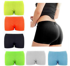 Womens Ladies Stretchy Neon Lycra Dance Gym Party Hot Pants Shorts Knickers Σ