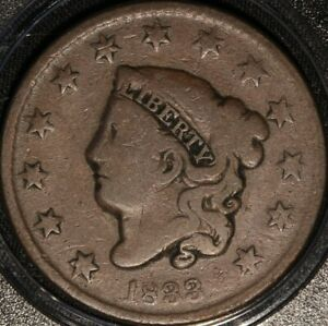 1833 CORONET HEAD LARGE CENT, NICELY CIRCULATED, NICELY DETAILED AS SHOWN, OLDE!