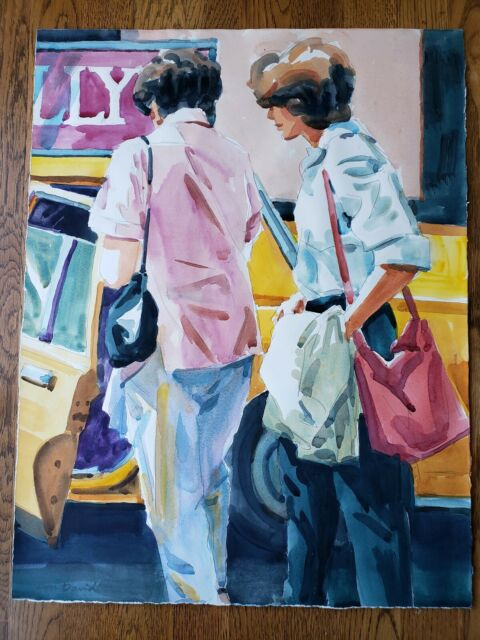 "Don David (1906-2006) Original Watercolor ""Manhattan Series I"" California artist"