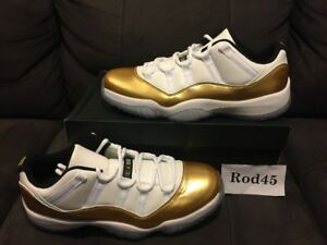 9e8a4eab4d2f Nike Air Jordan 11 XI Retro Low White Metallic Gold Coin Black 12 DS ...