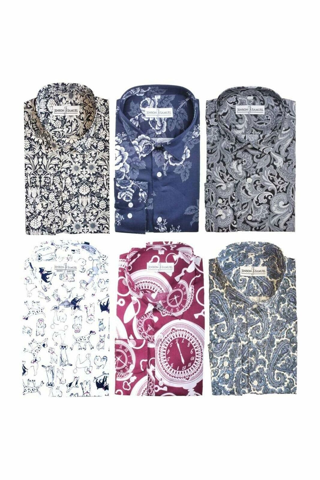 JSS Mens 100% Cotton Regular Classic fit MOD Printed Paisley Floral Shirts S-4XL