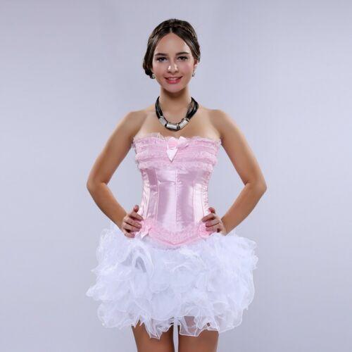 Lace Overbust Corset Bustier Top Cincher Zipper// Mesh layered Mini Skirt to Pick
