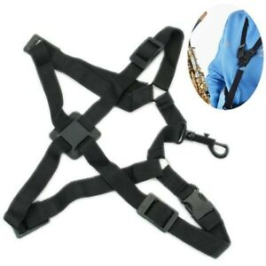 Black-Saxophone-Harness-Alto-Tenor-Adjustable-Shoulder-Strap-Belt-Accessories-CO
