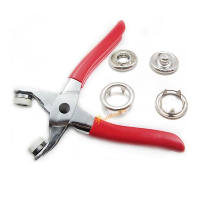 "Easy Press Snap Fastener Pliers stud attaching tool 3/8"" 25 sets Nickel Sew T06"