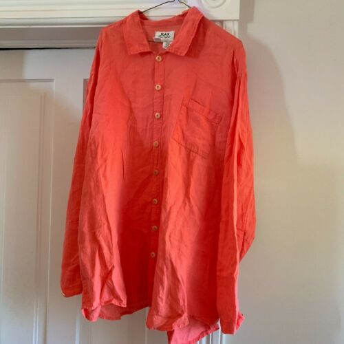 FLAX Linen Top Shirt Women's Large Button Down Lag