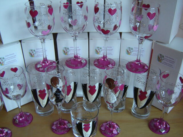 Personalised Bridesmaid gift  flower girl mother-bride maid of honour wine glass