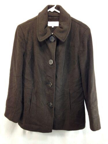 Front 8 Dame Calvin Wool Blend Button Pea Jacket Klein Coat Brown TwwvXSq